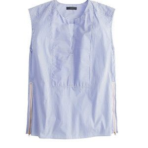 Jcrew sleeveless side zip top blue & white stripe
